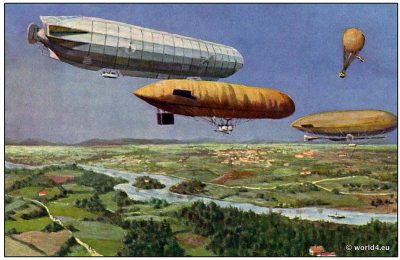 Early Airship, balloon aviators 1908. Dutch Collectible postcard.