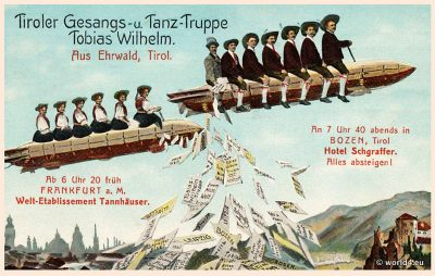 Airship promotional postcard 1910s. Tyrolean song and dance troupe Tobias Wilhelm from Ehrwald Tyrol. Hotel Schgraffer Bozen.