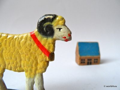 Sheep from sheet metal and painted. Antique children toys. Antique toy from Bohemia
