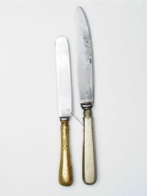 Antique cutlery knives. Collectible Knifes. Gold and silver plated. Bauhaus design