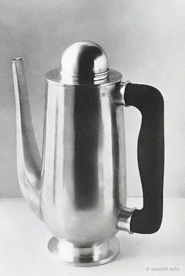 Silver Coffee pot design Wolfgang Tümpel. Art deco design.