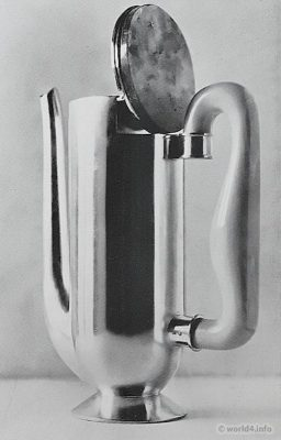 Bauhaus design. Silver Coffee pot design Wolfgang Tümpel. Art deco design.