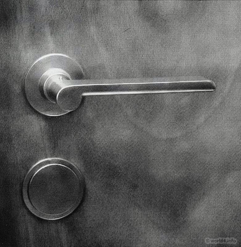 Bauhaus Door Handle And Door Fittings. Design By Wilhelm Wagenfeld.