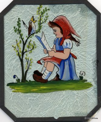 Reverse glass painting. Germany 1930s. Fairytale scenes. Children Illustration painting on glass.