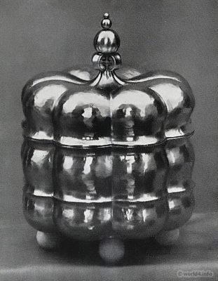 Jar with lid. Can design. Art deco, Bauhaus Period. Design: Sculptor Kurt Quartländer, Heilbronn.