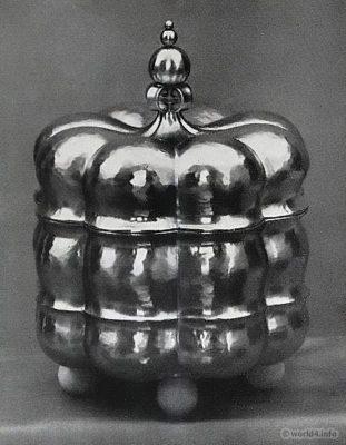 Jar with lid. Can design. Art deco, Bauhaus Period. Design: Sculptor Kurt Quartländer, Heilbronn.