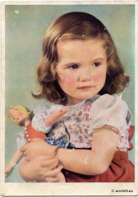 Girl with antique doll. Collectible Postcard Germany 1930s. German Children fashion