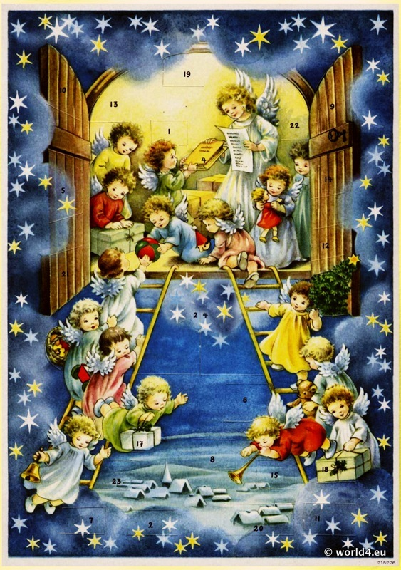 angels, christmas, advent calendar, Design,