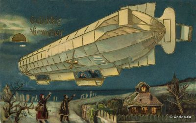 Dutch Airship New Year Greeting Card. Collectible postcard. Early Aviator Zeppelin post.