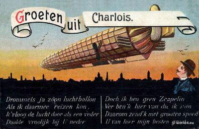 Groeten uit Charlois. Collectible postcard. Early Aviator Zeppelin post. Dutch Airship Greeting Card