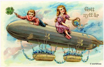 HAPPY NEW YEAR postcard. Dutch airship greeting card. Collectible postcard. Early Aviator Zeppelin.