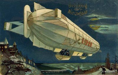 Dutch Airship Happy New Year Greeting Card. Groeten uit. Collectible postcard. Early Aviator Zeppelin. Gelukkig Nieuwjaar