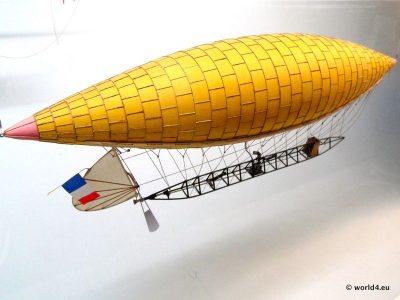 French airship by Baptiste Henri Jacques Giffard. Early Aviator.