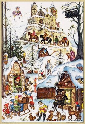 Traditional German Christmas, Advent Calendar, Vintage 1960s, Fairy tales.