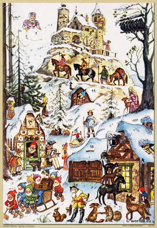 Traditional German Christmas. Advent Calendar, Vintage 1960s. Fairy tales.