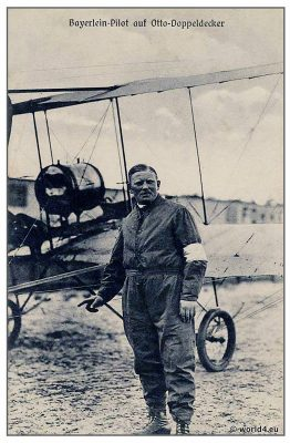 German aviation pioneers. Pilot Anton Baierlein with Otto biplane. Collectible postcard