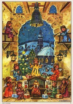 German christmas. Vintage 1960s. Old advent calendar. Design 1960s. Illustration of angels
