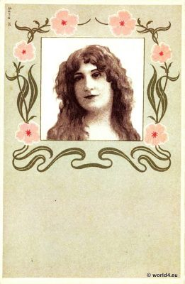 Collectible art nouveau postcard. Art Nouveau style Illustrations, Ornaments.