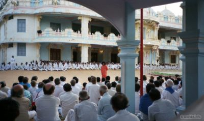 Indian Guru. Darshan with Sathya Sai Baba. India Puttaparti 1984. Hinduism.
