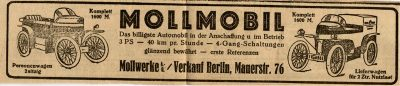 Mollmobil. German Oldtimer. Car Advertising. 1910s.