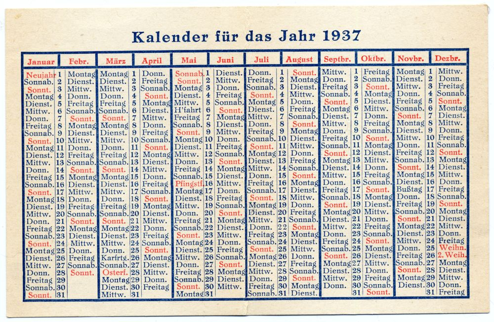 Old German Calendar 1937. German Nazi era.