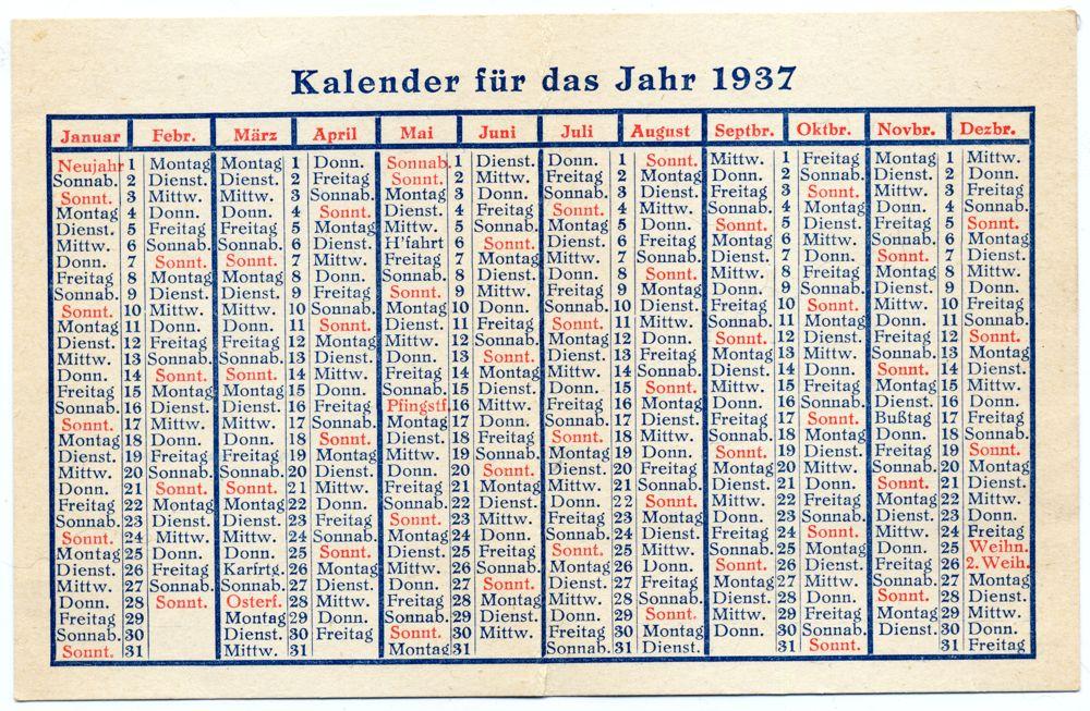 Old German Calendar 1937. German Nazi era.