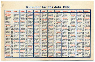 Old German Calendar 1938. German Nazi era.