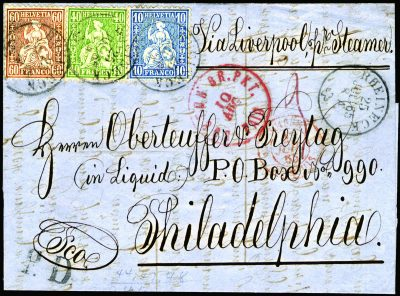 Rare letter with Swiss stamps 1865. Transatlantic cover. Rare Stamps and Postmark. Collectible Philately