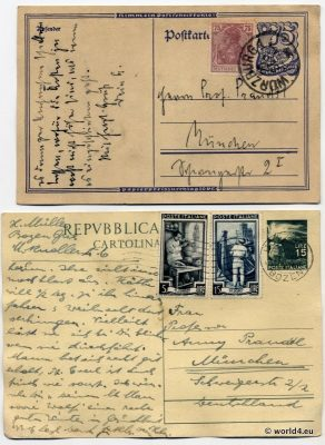Old Letters from German Empire and Italy. Rare Stamps and Postmark. Collectible Philately. Handwriting.