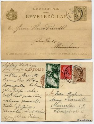 Old Letters from Hungary and Italy. Rare Stamps and Postmark. Collectible Philately. Handwriting.
