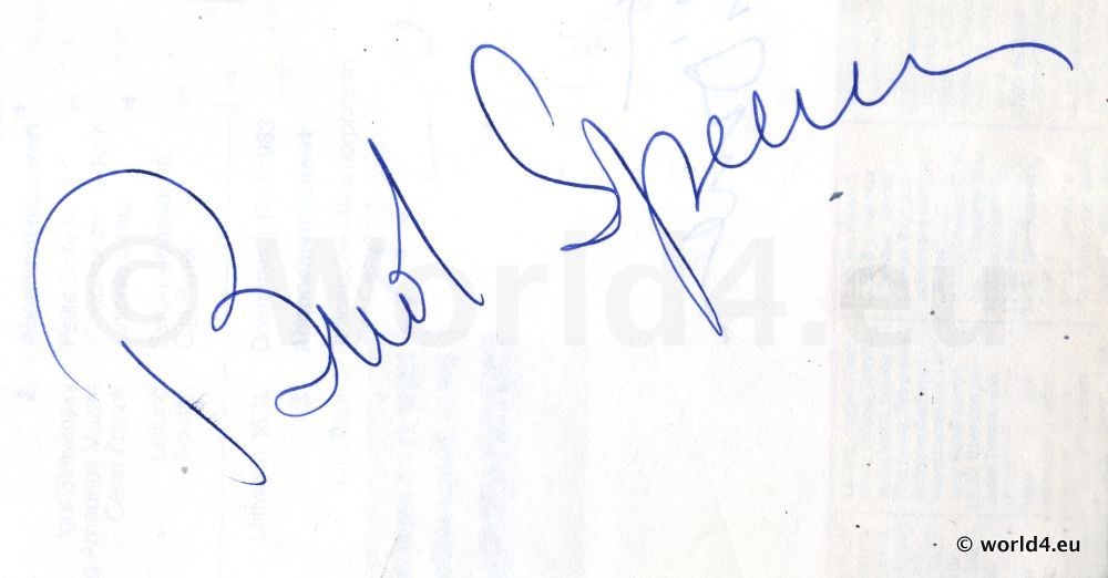 Original Autograph by Bud Spencer. Famous Actor.