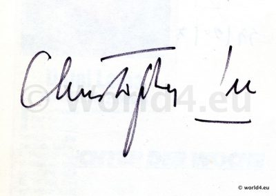 Original Autograph by actor Christopher Lee. Title character in Dracula. Saruman in The Lord of the Rings and Count Dooku in Star Wars.