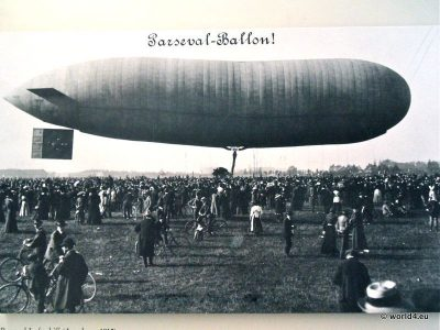 Parseval airship ballon. Collectible postcard. Early Aviator Zeppelin.