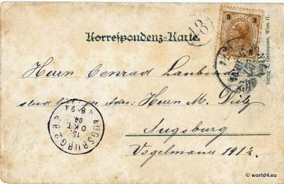 Back of Postcard with stamps Austria, Calligraphy, Postmark and Handwriting. Collectible.