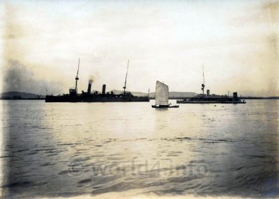 German war ships, HMS Flora and SMS Homeland in the harbor of Shanghai 1917. Collectible Postcard