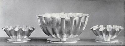Handmade silver bowls. Design: Kaj Gottlob, Copenhagen.