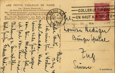 Back of Postcard. Handwriting, Rare French Stamps, Postmark, Calligraphy. Collectible Picture Postcard from France.
