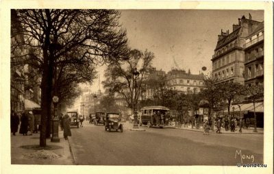 The Grand Boulevards, Paris 1925. The Grands Boulevards are the oldest boulevards of Paris. Collectible French postcard