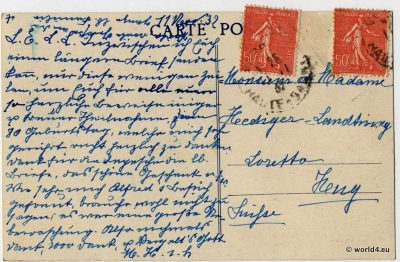 Back, Postcard, stamps, France, calligraphy, postmark, handwriting