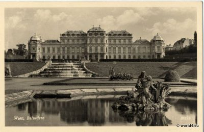 Vienna Palais Belvedere with Fontaine. Collectible postcard.