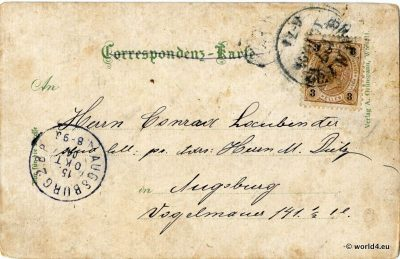 Back of Postcard. Handwriting, Rare Austrian Stamps, Postmark, Calligraphy. Collectible Picture Postcard from Austria.
