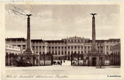 Vienna Schönbrunn Summer Palace. Collectible postcard 1928. Topographie Austria