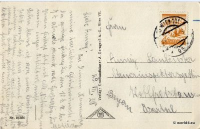 Vienna Schönbrunn Palace. Back of old postcard, handwriting, antique austrian stamps and postmarks.