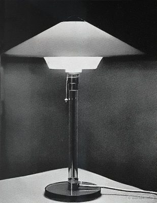 Bauhaus Table Lamp Design by Wilhelm Wagenfeld. Industrial design.