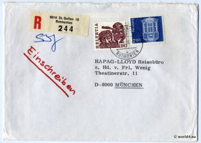 Philately, Hapag LLoyd Travel Agency, Munich, Cover, Helvetia, Stamps, Postmark