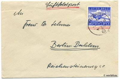 Luftfeldpost. German Air Field Post World War 2. Stamps, Philately, Postmark, SS Swastika.