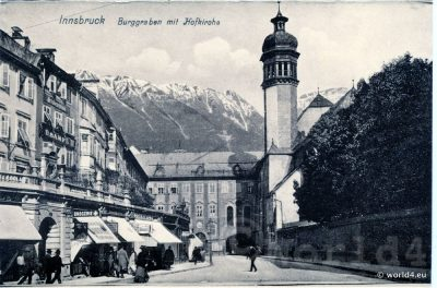 Innsbruck Burggraben and Hofkirche. Collectible Postcard, Austria Architecture, Topography.