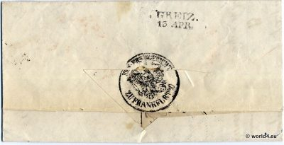 Antique German letter cover. Template, Stamps, Handwriting, Pre-Philately, Postmark, Autograph.