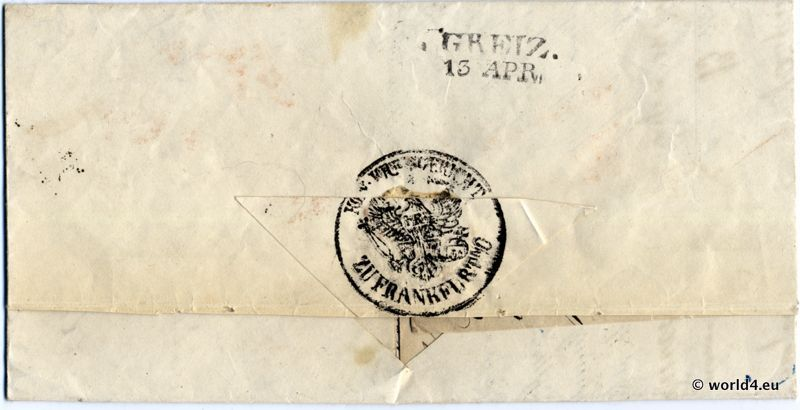 Antique, German letter cover. Template, Stamps, Handwriting, Pre-Philately, Postmark, Autograph.