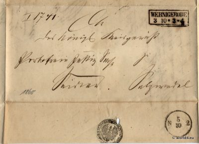 Old German States Wernigerode. Antique Letter Autograph 1865.